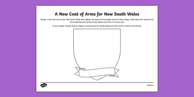 New South Wales Coat of Arms Design Sheet - australia, New South Wales, NSW, emblem, coat of arms, design, drawing, art