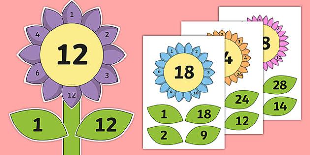 Factor Flowers - factor flowers, flowers, factor, maths, numeracy