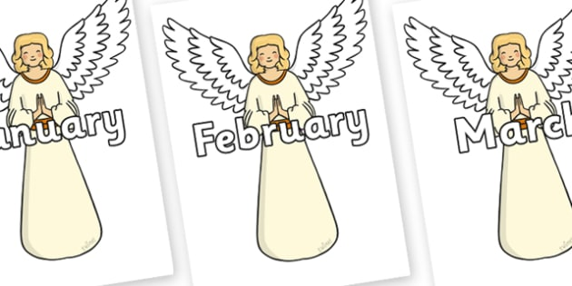 Months of the Year on Christmas Angels - Months of the Year, Months poster, Months display, display, poster, frieze, Months, month, January, February, March, April, May, June, July, August, September