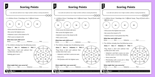 Adding And Subtracting Two Digit Numbers Differentiated Activity Sheets