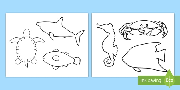 new sea creature template cut outs under the sea sea