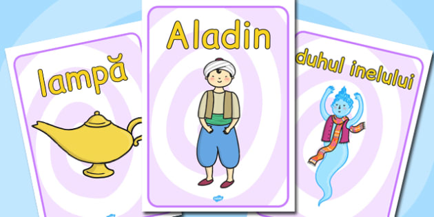 Aladdin Plansa cu imagini si cuvinte din poveste, Romanian