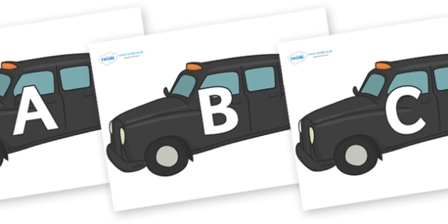 A-Z Alphabet on Taxi Cabs - A-Z, A4, display, Alphabet frieze, Display letters, Letter posters, A-Z letters, Alphabet flashcards