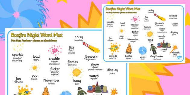 Bonfire Word Mat Polish Translation - polish, bonfire night, word mat, word, mat