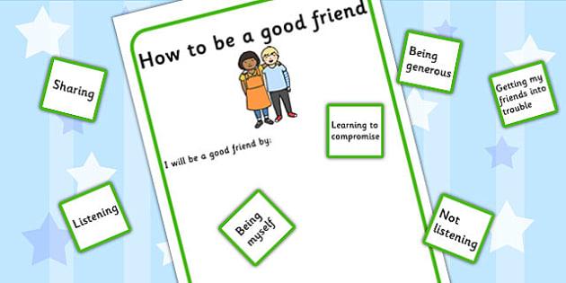 How To Be A Good Friend Activity (teacher made)