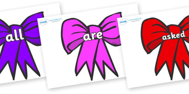 Tricky Words on Bows - Tricky words, DfES Letters and Sounds, Letters and sounds, display, words