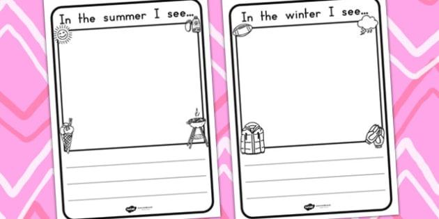 Seasons I See Handwriting Lines - seasons, weather, handwriting