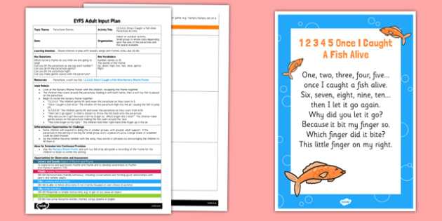 1, 2, 3, 4, 5 Once I Caught a Fish Alive Parachute Activity EYFS Adult Input Plan and Resource Pack - rhyme, PE, physical education, parachute games