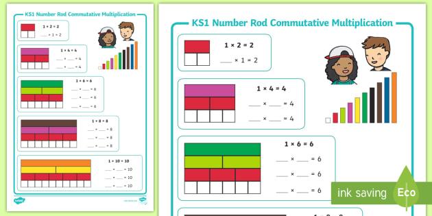 ks1 number rods commutative multiplication array worksheet cuisenaire. Black Bedroom Furniture Sets. Home Design Ideas