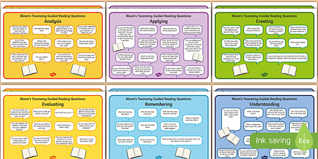 Guided Reading Questions by Bloom's Taxonomy English/Romanian  - Guided Reading Questions by Blooms Taxonomy - question, read, blooms taxomy, bloomstaxonomy, reding,