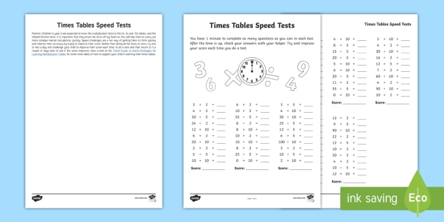Year 2 Maths Times Tables Speed Tests Homework Worksheet /