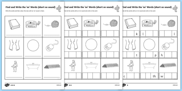 Find and Write the Short oo Sound Words Differentiated Worksheet / Activity Sheet Pack, worksheet, long u sound