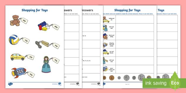 shopping for toys worksheet activity sheet ni ks1. Black Bedroom Furniture Sets. Home Design Ideas