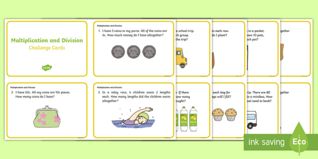 year 1 and year 2 multiplication and division challenge cards. Black Bedroom Furniture Sets. Home Design Ideas