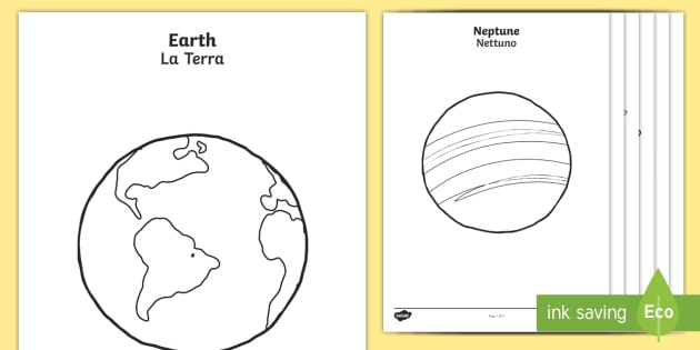 Planets Colouring Pages - English/Italian - space, outer ...