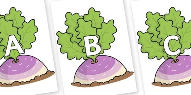 A-Z Alphabet on Turnip in the Ground - A-Z, A4, display, Alphabet frieze, Display letters, Letter posters, A-Z letters, Alphabet flashcards