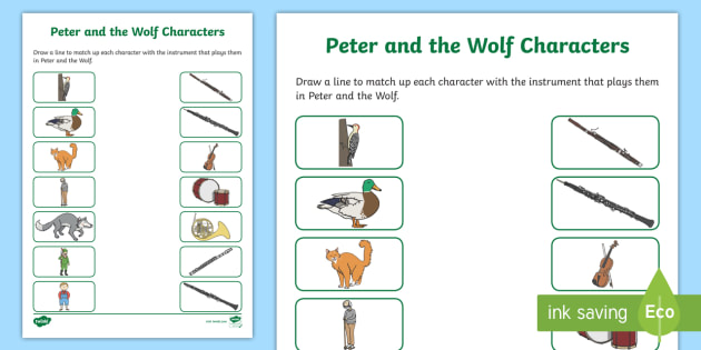 Peter And The Wolf Character Activity Sheet Sergei Prokofiev