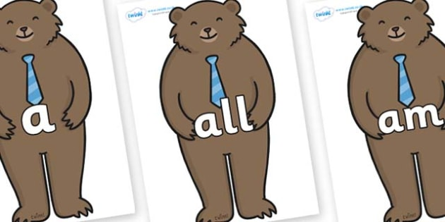 Foundation Stage 2 Keywords on Daddy Bear - FS2, CLL, keywords, Communication language and literacy,  Display, Key words, high frequency words, foundation stage literacy, DfES Letters and Sounds, Letters and Sounds, spelling