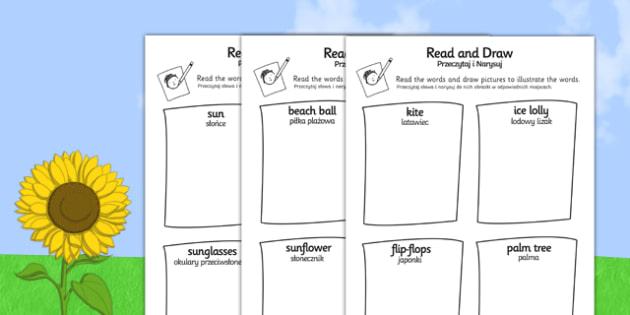 Summer Read and Draw Activity Sheet Polish Translation - polish, seasons, weather, activities, worksheet