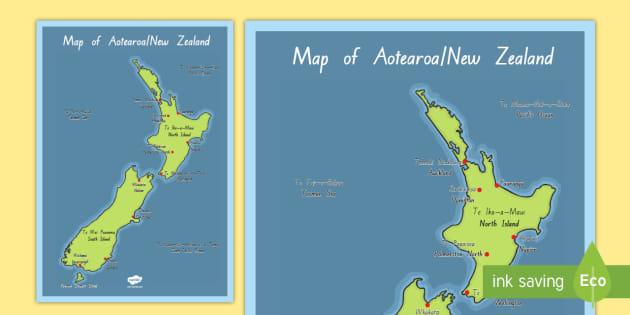 New Zealand Maori Map.Aotearoa Maori Map Display Posters Te Reo Maori English New Zealand