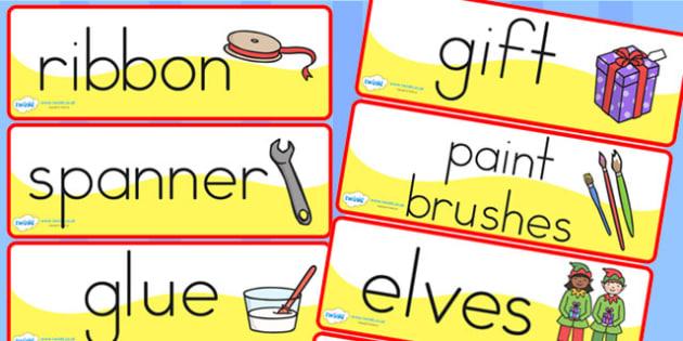 Australia Santas Workshop Roleplay Word Labels - santas, word labels, xmas