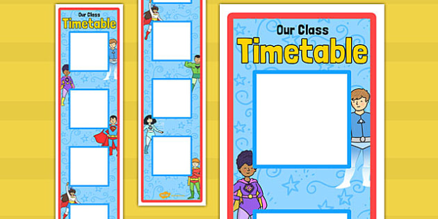 Superhero Themed Vertical Visual Timetable Display - display, timetable