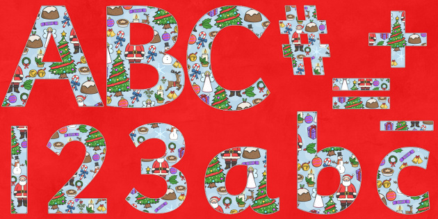 Christmas Themed Display Letters and Numbers Pack - christmas, display, letters, pack