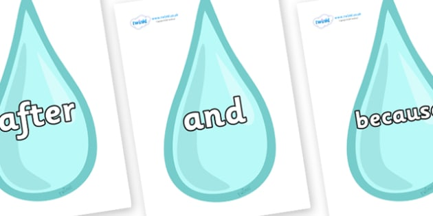 Connectives on Water Droplets - Connectives, VCOP, connective resources, connectives display words, connective displays