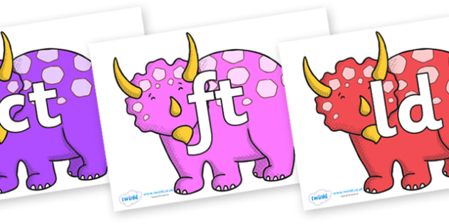 Final Letter Blends on Triceratops - Final Letters, final letter, letter blend, letter blends, consonant, consonants, digraph, trigraph, literacy, alphabet, letters, foundation stage literacy
