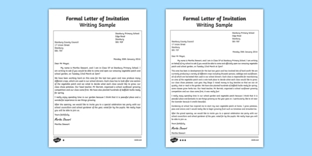Formal Letter Of Invitation Writing Sample