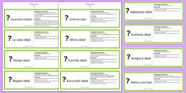 GCSE Spanish Asking Questions Using Conditional Practice Cards - spanish, asking questions, preguntas, practice, speaking, cards, ideal, conditional, GCSE Spanish