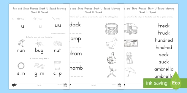 Rise and Shine Phonics Short U Sound Morning Activity Sheets - short vowels, short u, morning work, phonics, worksheets, worksheet, usa, kindergarten