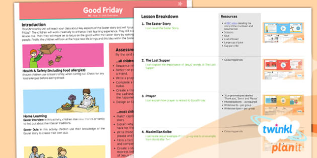 RE: Good Friday Year 3 Planning Overview