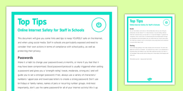 Top Tips Online Internet Safety for Staff in Schools - e-safety, staff, schools, school, safe