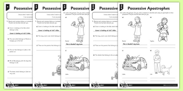 Possessive Apostrophes Differentiated Worksheet Pack - Twinkl