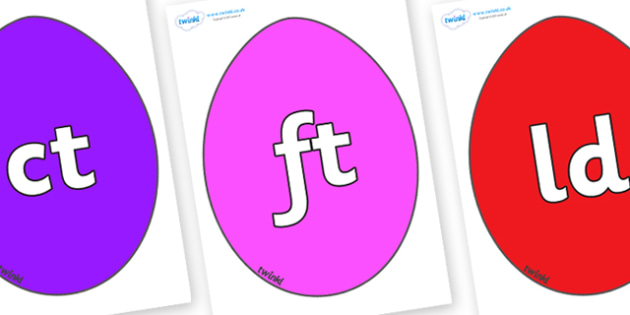 Final Letter Blends on Easter Eggs (Plain) - Final Letters, final letter, letter blend, letter blends, consonant, consonants, digraph, trigraph, literacy, alphabet, letters, foundation stage literacy