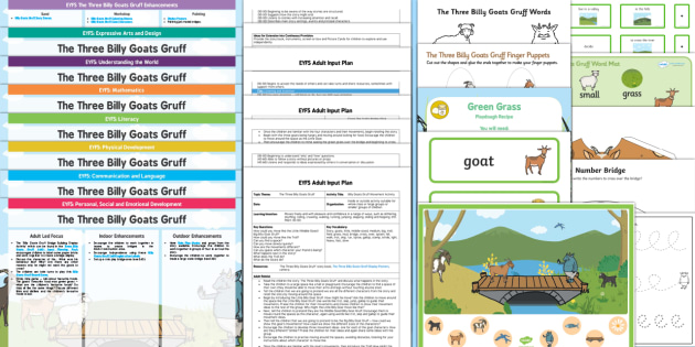 EYFS The Three Billy Goats Gruff Lesson Plan Enhancement Ideas and Resources Pack - planning, Early Years, continuous provision, early years planning, adult led, traditional tales, farm, animals