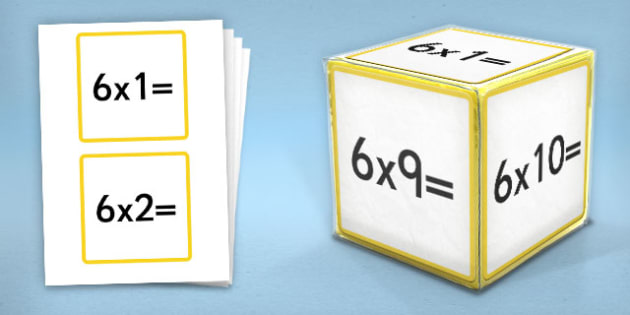 Giant Foam Dice Squares 6 Times Tables - foam dice, squares, 5