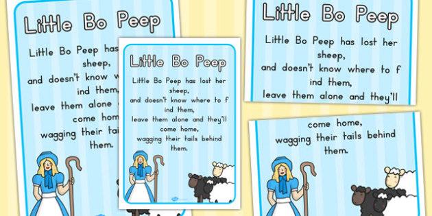 Little Bo Peep Nursery Rhyme Poster - posters, displays, display