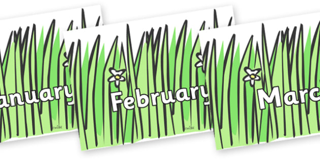 Months of the Year on Wavy Grass - Months of the Year, Months poster, Months display, display, poster, frieze, Months, month, January, February, March, April, May, June, July, August, September