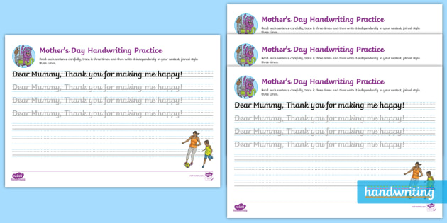 Mothers Day Cursive Handwriting Practice
