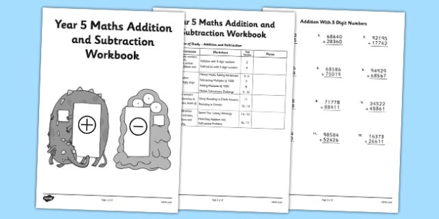 Year  Maths Addition And Subtraction Workbook  Workbook Activity Pack Year  Maths Addition And Subtraction Workbook  Workbook Activity Pack  Worksheets Independent