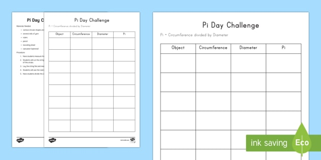 Pi Day Challenge Activity Pi Day Worksheets Circumference