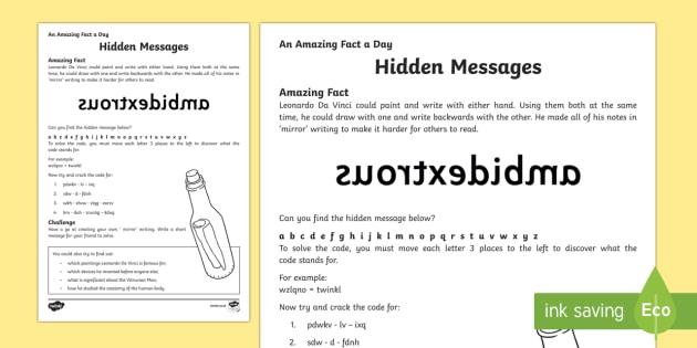 Hidden Messages Worksheet / Activity Sheet