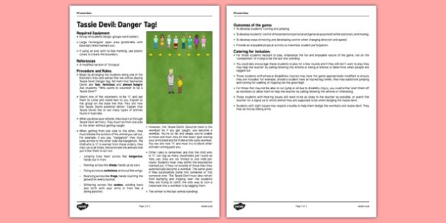 PE Lesson Plan Tassie Devil Danger Tag - australia, pe, lesson plan, tassie devil, danger tag, tasmanian devil, activity