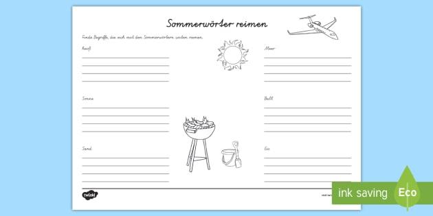 NEW * Sommer Reimwörter Arbeitsblatt - Sommer, Sommerferien