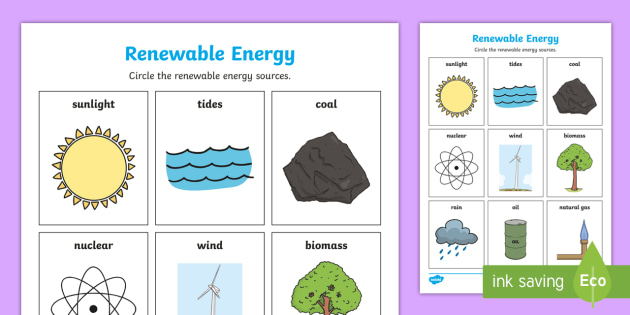 Renewable Energy Sources Activity - Science, Primary, Grade ...
