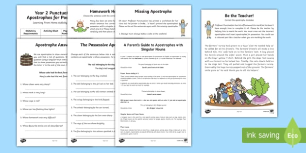 Year 2 Punctuation: Apostrophes for Possession Activity Booklet