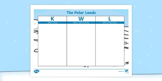 The Polar Lands KWL Grid - the polar lands, polar regions, arctic, antarctic, kwl grid, kwl, grid, know, want, learn