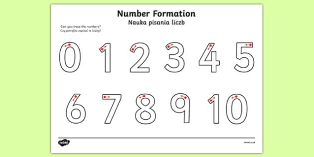 Number Formation Activity Sheet 0 10 Polish Translation-Polish-translation, worksheet, overwriting